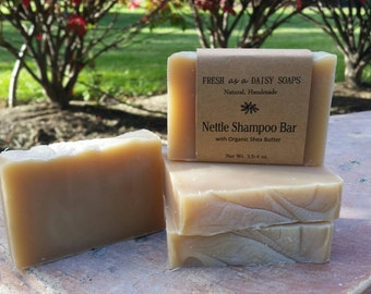 Nettle Shampoo Bar with Shea Butter, Oatstraw, and Horsetail, Natural Handmade Soap, VEGAN