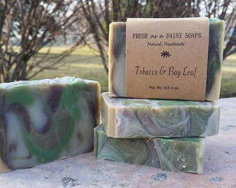 Tobacco & Bay Leaf, Natural Handmade Soap, Cold Process, Vegan, Shampoo+Shower+Shave Men's Soap
