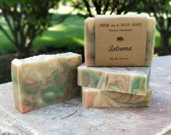 Satsuma Natural Handmade Soap, Cold Process Soap, Citrus Soap, VEGAN
