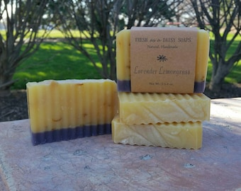 Lavender Lemongrass, Stress Relief Soap, Aromatherapy, Uplifting, 100% Natural Cold Process Soap, VEGAN