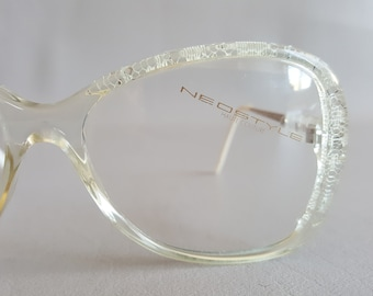 a61c4c420f NEOSTYLE PLAZA Haute Couture Clear Lace Glasses • Vintage 80s Large Square  Eyeglass Frames • Made in Germany
