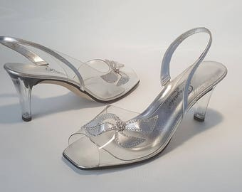Swarovski Crystals Lucite Bridal Shoes • Vintage 90s Clear Formal Plastic  Shoes • Womens Size 12 83c77065bf