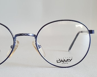 7e548c76ba NOS Blue L AMY 80 s Round Eyeglass Frames • Vintage 1980 s Pantos Eyeglasses  • Made in France