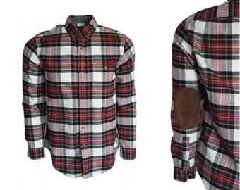 7463a9fe4fa4a9 Coton coudières en cuir   chemise de laine • bûcheron à carreaux épais  Oxford bouton vers le bas • la chemise pour homme taille M