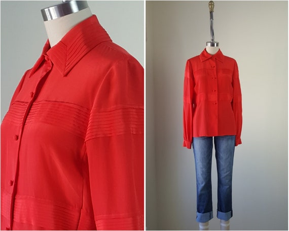 DONALD BROOKS Pintuck Silk Blouse Size S