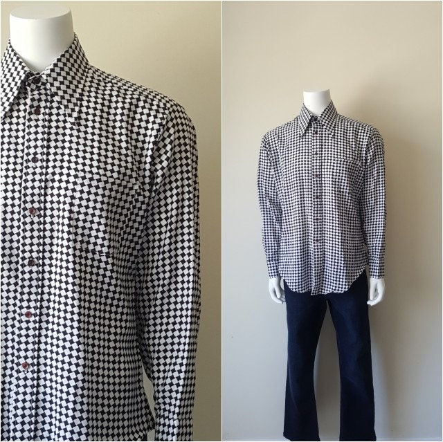 1970s Men's Shirt Styles – Vintage 70s Shirts for Guys Vintage 70S Mens Gingham Shirt Size Xl $28.00 AT vintagedancer.com