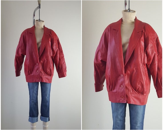 Soft Red Leather Cocoon Coat • Size M