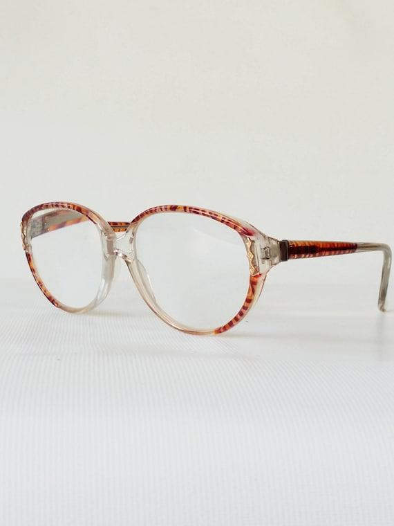 Animal Print Eyeglass Frames Clear Plastic & Brown Oval Eye | Etsy
