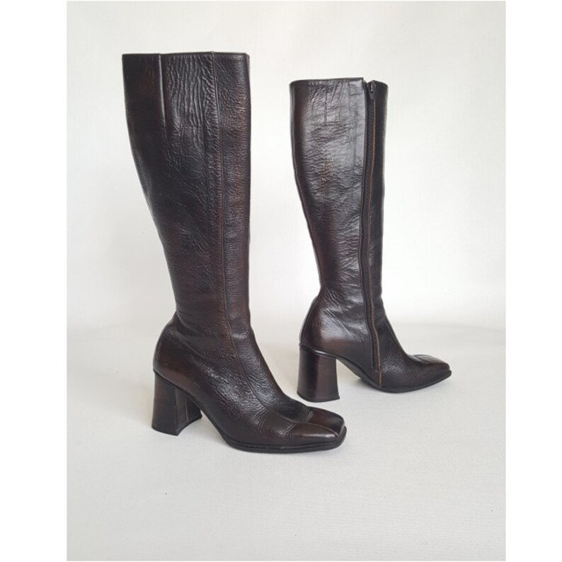 a6b39f8fb98 60s Mod Leather Boots Vintage 1960 s Brown Boots Tall