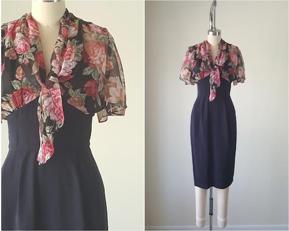 Dark Chiffon Wiggle Dress • Size XS S