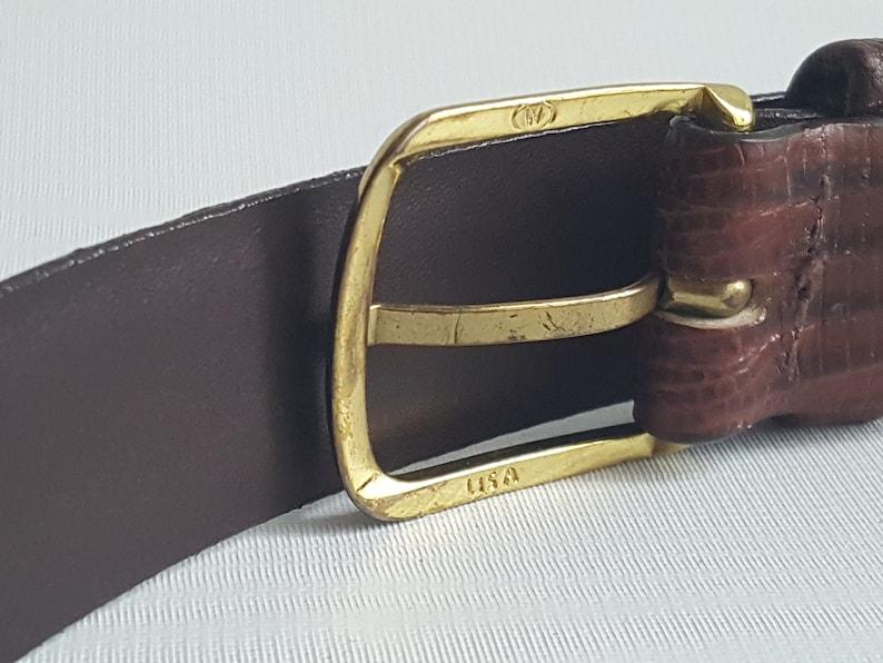 BUXTON  Leather Lizard Embossed Brown Belt \u2022 36 Waist M L \u2022 Made in USA