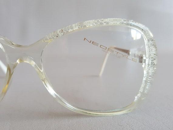 32b10eb71e NEOSTYLE PLAZA Haute Couture Clear Lace Glasses Vintage 80s