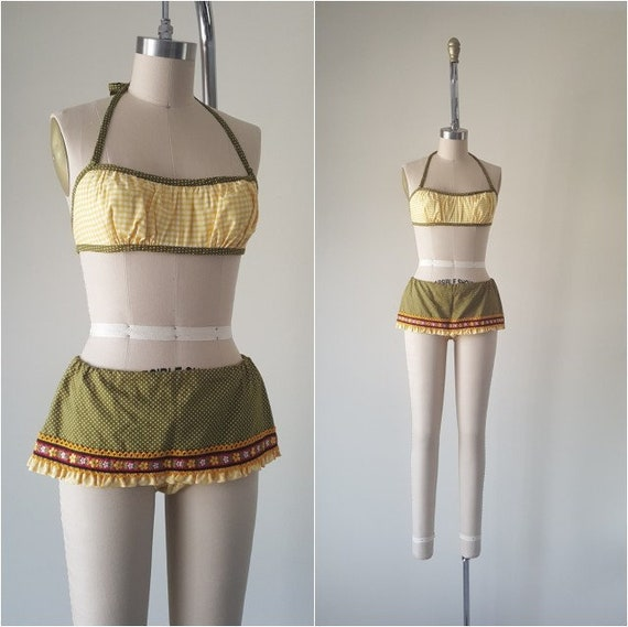 Unworn 60s 70s Skirt Bikini • Made in USA