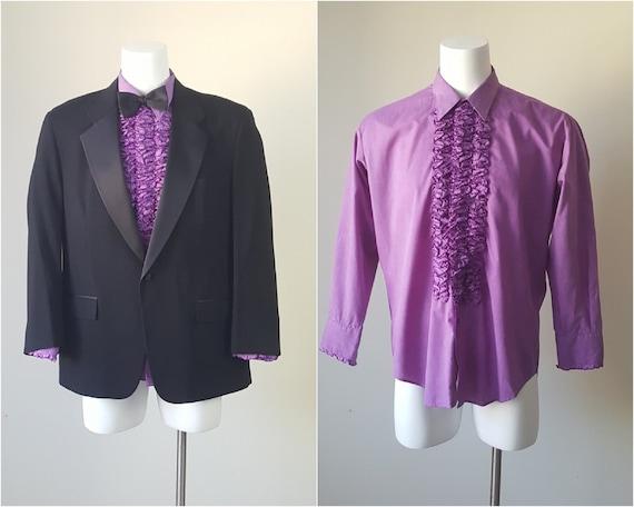 70s PurpleTuxedo Shirt XL XXL Ruffle Tux Shirt