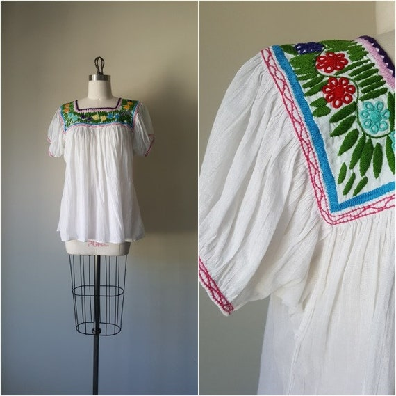 Handmade Embroidered Peasant Blouse • Small