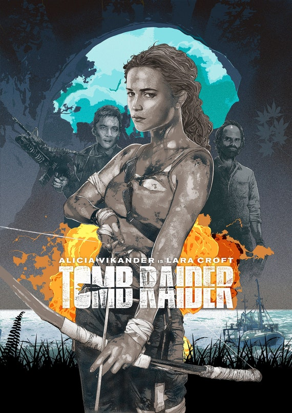 Tomb Raider 2018 Alternative Movie Poster Blue Variant Etsy