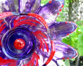 glass garden art hand painted purple red outdoor garden decoration glass garden art lawn ornament garden gift yard art - Glass Garden Art