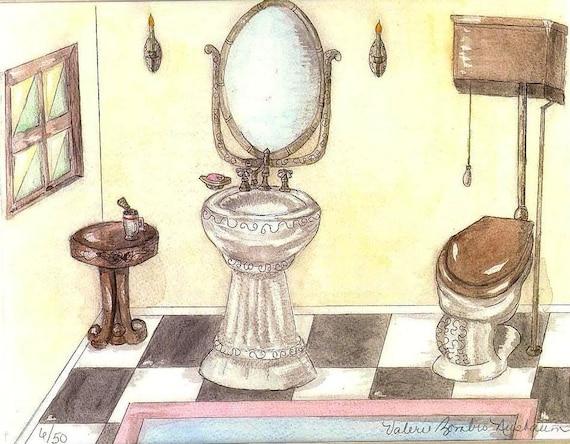 Vintage Toilet And Sink Watercolor Print Bathroom Art Etsy