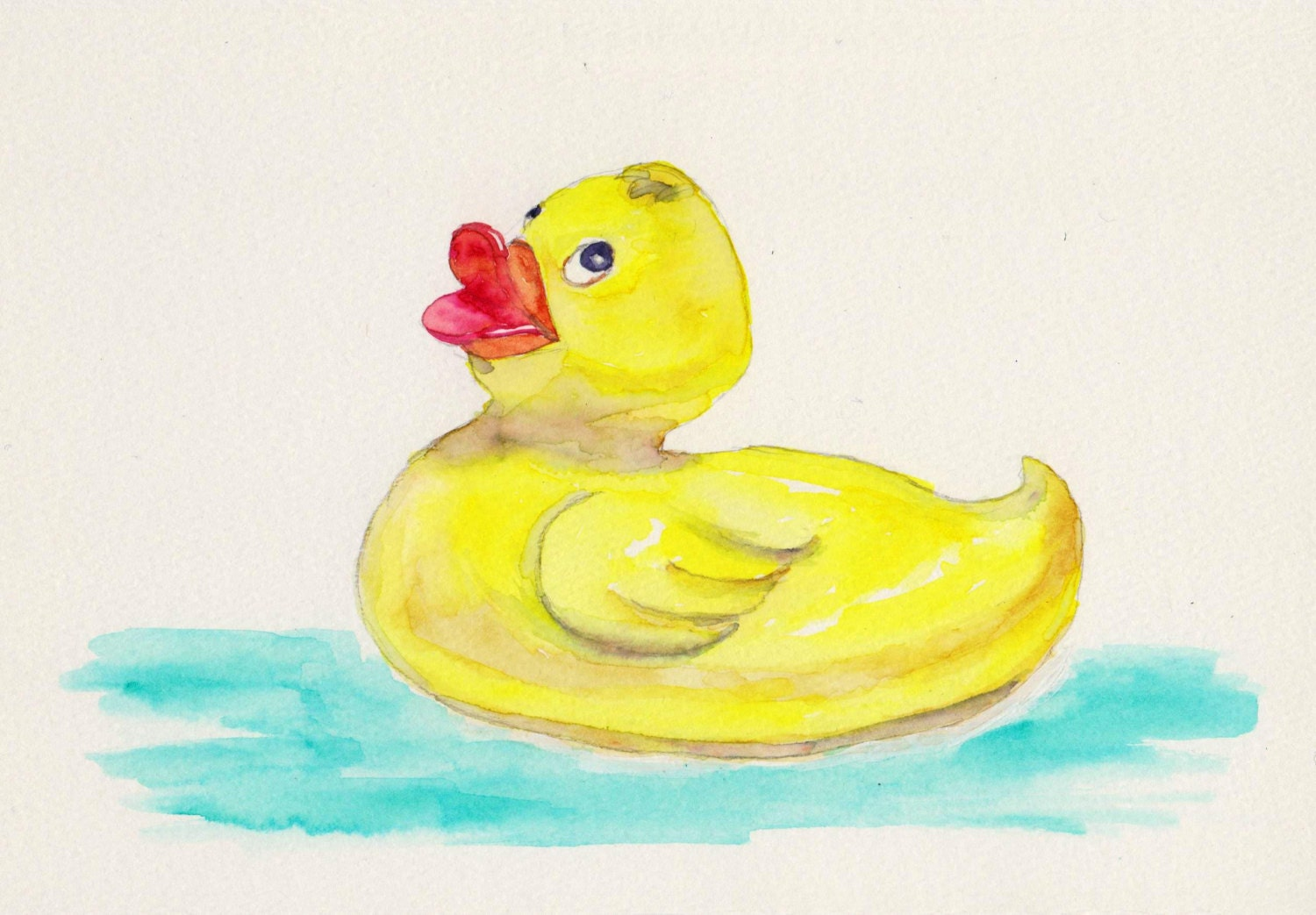Rubber Ducky Watercolor Print Bathroom Art Kids Wall Decor