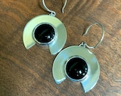Hand cut Black Onyx and sterling silver earrings