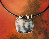 Dendrite Opal Necklace on leather cord