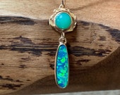 Boulder Opal and Chrysoprase Pendant in 14K yellow gold