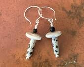 Dalmation Jasper and black onyx earrings