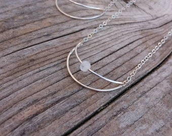 Moon necklace with cut moonstone / made of sterling silver / filigree jewelry / moon jewelry / luna / crescent moon