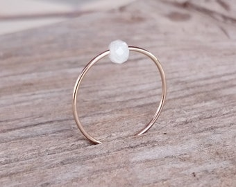 Ring with polished moonstone ) made of noble goldfilled _ filigree jewelry / engagement ring ) Gift for you