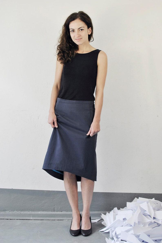 pencil skirt business skirt blue size S image 0