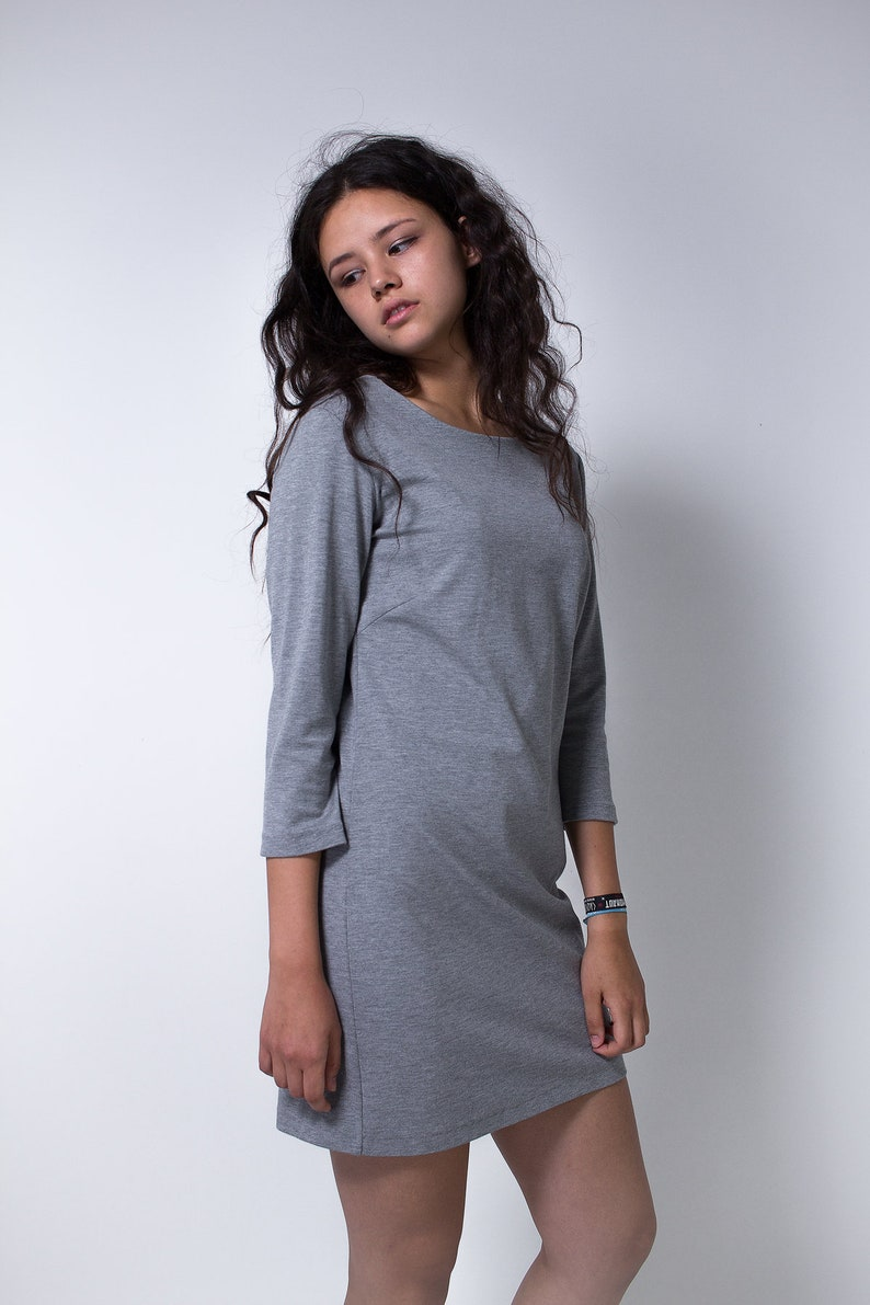 grey sheath dress jersey dress slim fit minimal stretch image 0