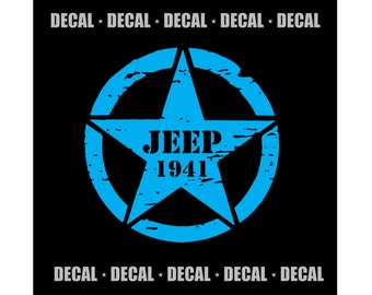 Jeep 1941 Star {Decal} - Large