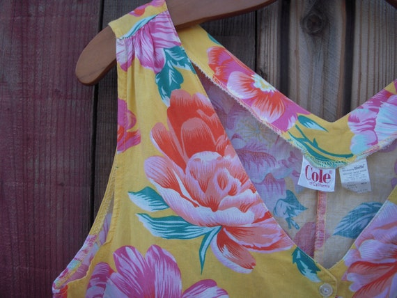 Vintage Tropical Floral Jumpsuit Romper - image 3