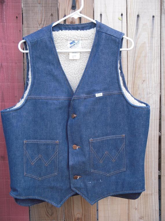 Vintage Wrangler sherpa lined denim vest