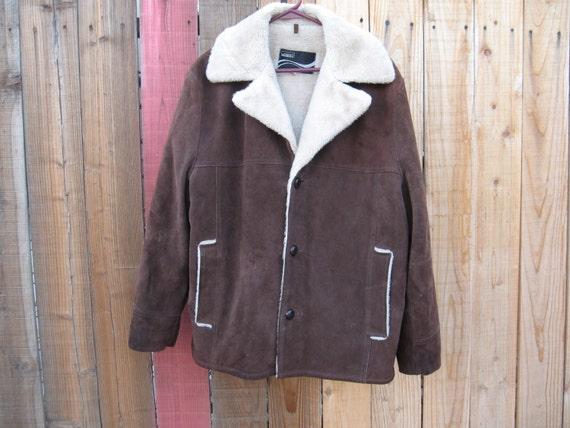 Vintage Montgomery Ward Brown Cowhide Jacket Fur C