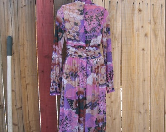 Vintage Custom  Joseph Magnin full length chiffon dress Robert David Morton print