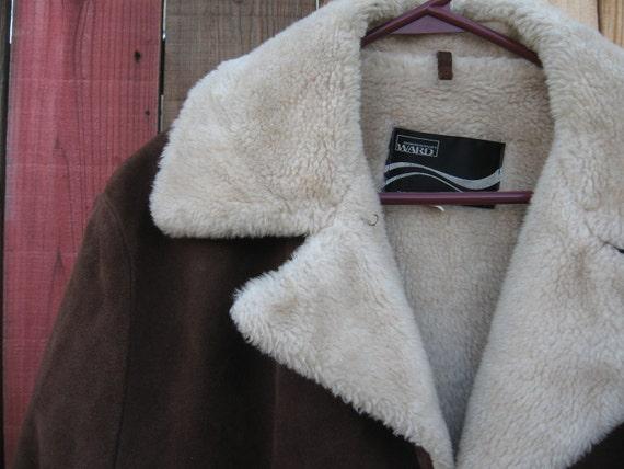 Vintage Montgomery Ward Brown Cowhide Jacket Fur … - image 2