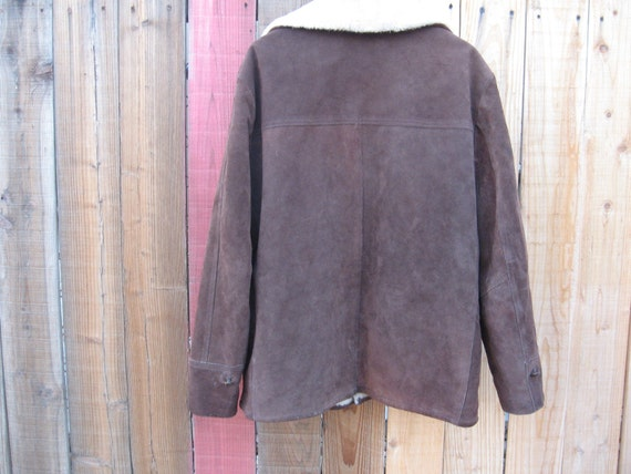 Vintage Montgomery Ward Brown Cowhide Jacket Fur … - image 5