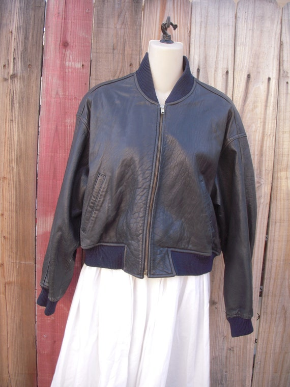 Vintage 1980's Black Leather Bomber Jacket