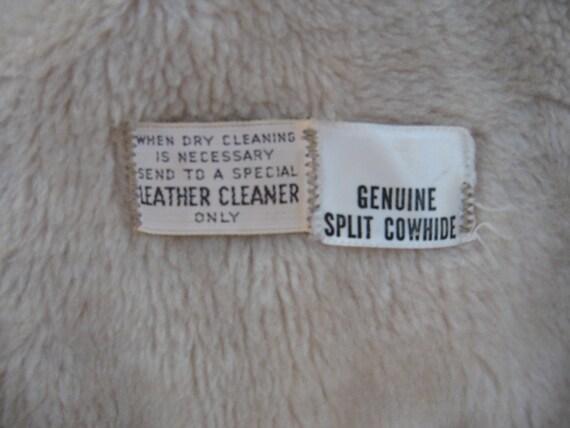 Vintage Montgomery Ward Brown Cowhide Jacket Fur … - image 4