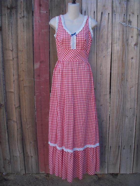 Vintage Gingham/Eyelet Prairie/Sundress MAXI Boho