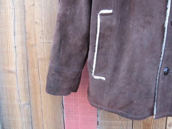 Vintage Montgomery Ward Brown Cowhide Jacket Fur … - image 3