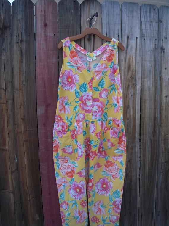 Vintage Tropical Floral Jumpsuit Romper - image 1