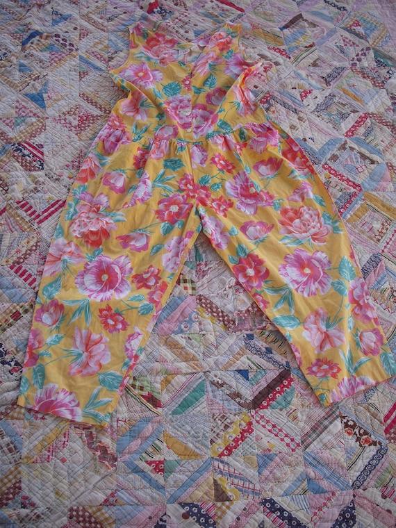 Vintage Tropical Floral Jumpsuit Romper - image 6