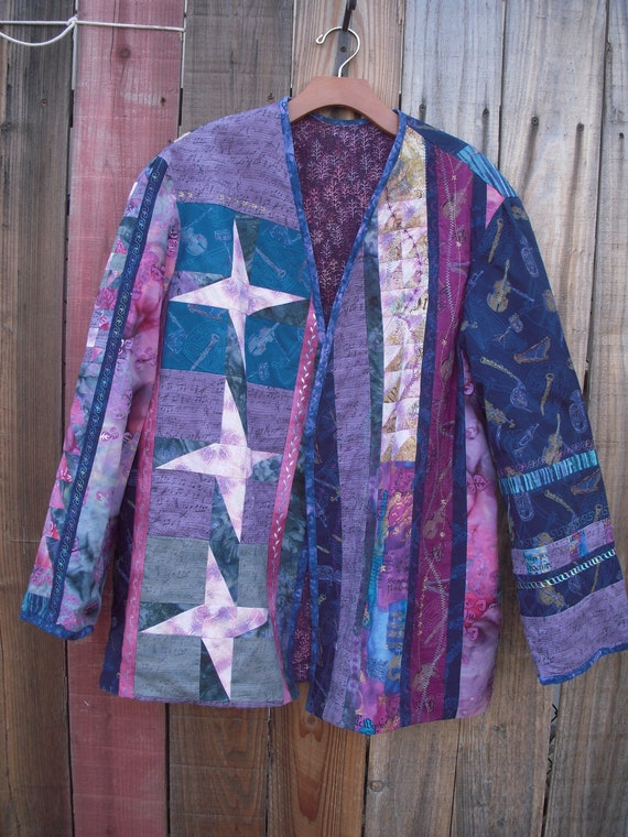 Quilt pieced jacket Car Coat Musical themed