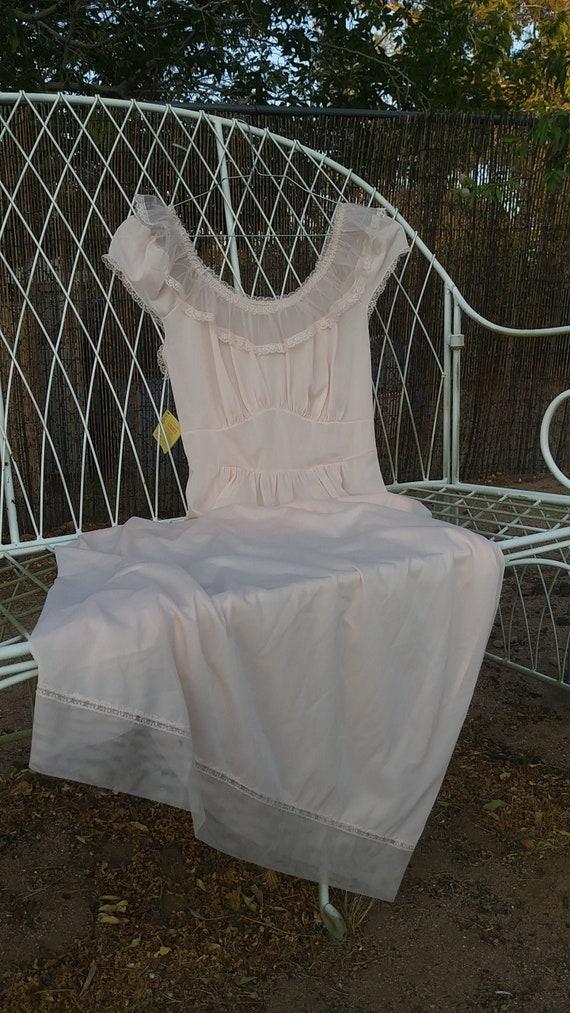 Vintage peachy pink nylon nightgown