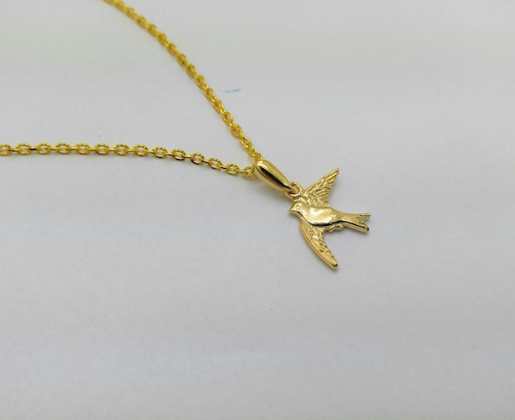 Flying Bird Peace Necklace Charm 14K Solid Yellow Gold Dove Pendant