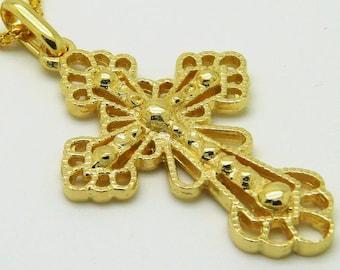 Classical Cross, 14K Yellow Gold Pendant