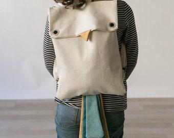 Bird Backpack, Animal Backpack, Children Backpack, Cute Backpack, Mini Backpack, Playful Backpack, Kids canvas bag, bird bag, kids Backpack