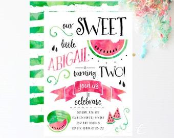 Watermelon Party | Watermelon Invite | Watermelon Birthday | Watermelon | Summer Birthday | Summer Invitation | Birthday Invitation
